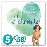 Pampers Couches Harmonie Taille 5 (11-16kg) 0% de compromis, 100% d'absorption, Ingrédients d'origine végétale, Hypoallergéniques, 58 Couches