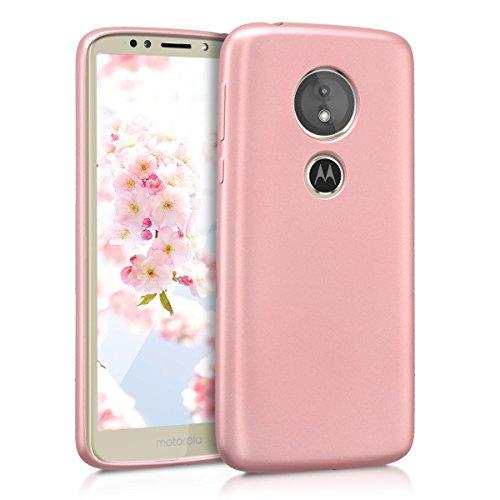 kwmobile Carcasa Compatible con Motorola Moto E5 - Funda de Silicona para móvil - Cover Trasero en Oro Rosa Metalizado