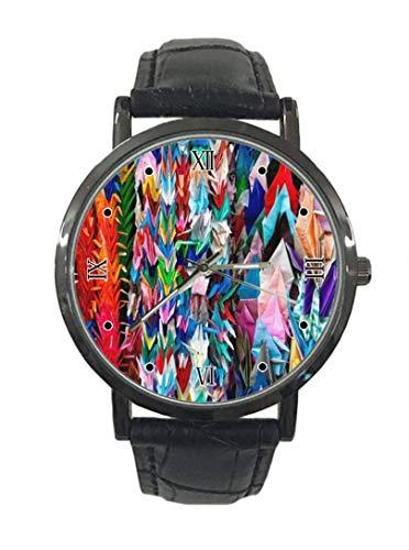 Colorido Origami Cranes Nuevo Simple Moda Acero Cuero Analógico Cuarzo Reloj Deportivo