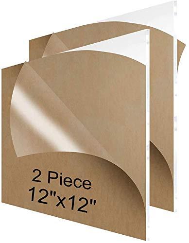 Hoja de plástico acrílico plexiglás policarbonato (305 mm x 305 mm 1/4 mm de espesor 6 mm para señales, proyectos de exhibición de bricolaje, manualidades (2 unidades)