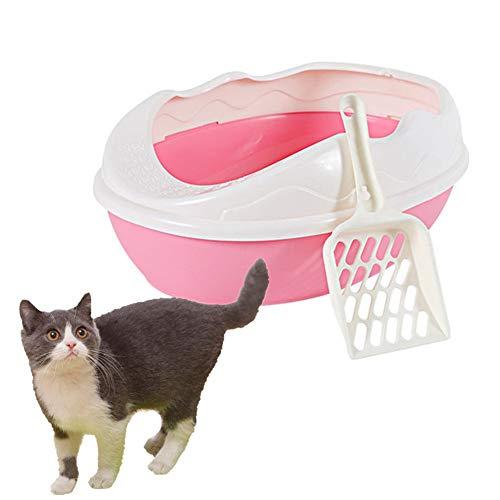 Sunfauo Caja Arena Gato Arenero Gatos Autolimpiable para Caja de Arena Gato Baño Gatito Accesorios para Baño Anti-Splash Orinal Conejo Litter Tray Pink