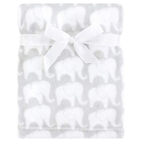 Hudson Baby Unisex Baby Silky Plush Blanket, Gray Elephant, One Size