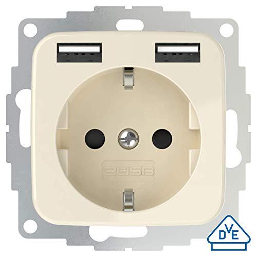 2USB inCharge Pro SI Schutzkontakt Steckdose mit integriertem USB Ladegerät 2,4A, kompatibel mit Reflex SI Serie Busch Jäger (Cremeweiß glänzend)