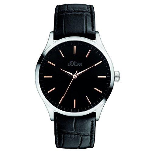 s.Oliver Herren-Armbanduhr Analog Quarz Leder SO-15142-LQR