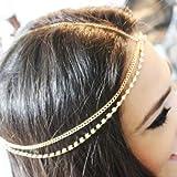 Barode Boho Layered Head Chains Sparking Rhinestone Fashion Headband Jewelry for Women and Girls (Gold)