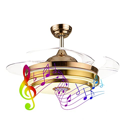 Ylight Candelabro Ventilador Techo Invisible Led, Luz De Techo Ventilador Música Regulable, 42/48 Pulgadas, con 4 Aspas Retráctiles Ventilador Araña Iluminación, 6 Velocidades 3 Colores