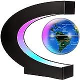 FGKLU Levitación Magnética LED Luminiscente Globo Terraqueo, 24h Giratorio Bola Mundo, Plastico Base Tipo C, para Regalo de Cumpleaños, Decoración del Hogar y la Oficina