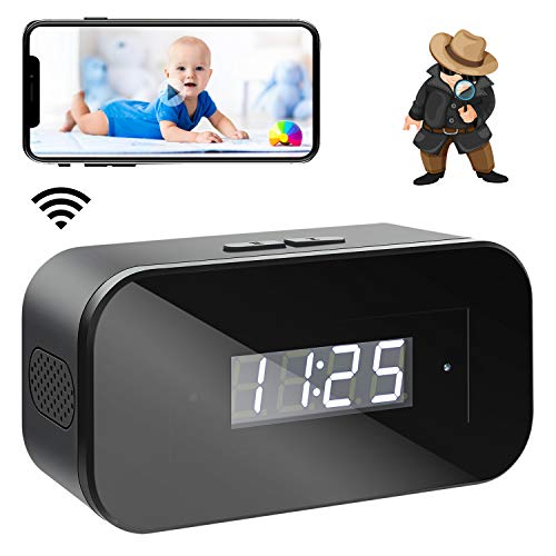 Mini Spy Cameras 1080 Wireless Hidden Cameras Clock Portable WiFi Nanny Cam with Night Vision and Motion Detection Smallest Security Surveillance Camera with Phone App for Indoor/Home cam