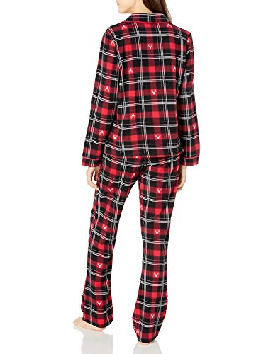 Amazon Brand - Mae Women's Sleepwear Notch Collar Pajama Set, Winter Stags, Large