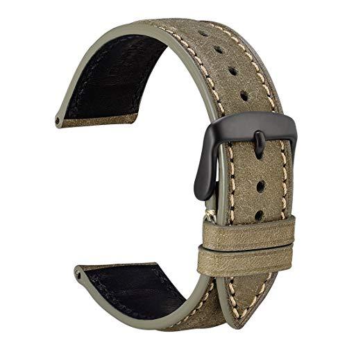 WOCCI 22mm Correa de Reloj de Cuero Nobuck con Hebilla Negra, Correa de Repuesto (Verde Oliva)