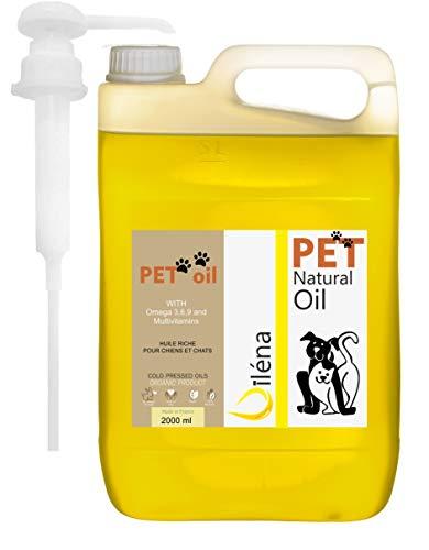 Aceite para Mascotas. Suplemento Alimenticio Natural para Perros y Gatos. Uso Diario. Combinado de 6 Aceites Ricos en Vitamina E y Omega 3, 6 y 9. Prensado en Frío (2000 ml)