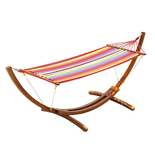 Outsunny 10' Wood Hammock with Stand, Heavy Duty Curved Arch Hammock for Single Person, Multicolor
