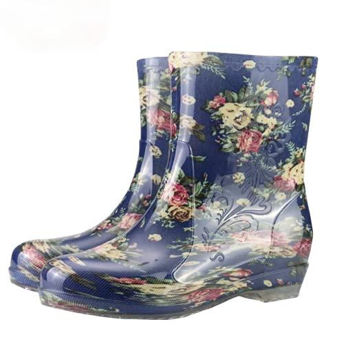 Dustpro Bottes De Pluie Mi-Mollet pour Femme Chaussures De Jardin Eau en PVC Imperméables Bottes De Pluie à Fleurs Bottes à Plateforme en Caoutchouc Solide YX-L2 37
