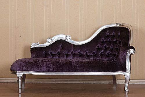 Casa Padrino Chaise Longue Barroco púrpura/Plata 150 x 78 x