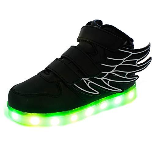 Lovelysi Unisex Niños Niñas con alas Zapatos Zapatillas de LED 7 Colors USB Carga Luz Luminosas Flash Deporte para Deportivas para Navidad Fiesta de Regalo