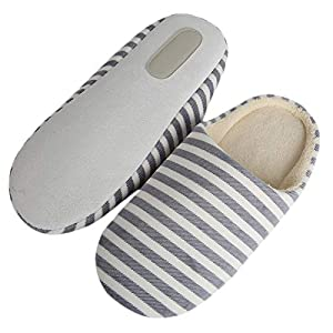 Winter House Slippers Memory Foam Striped Indoor Soft Bottom Cotton Slippers for Home Shoes Interior Non-Slip Shoes 40-41 Dl
