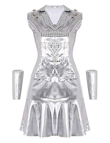 CHICTRY Damen Kostüm Outfits Tanzbekleidung Glänzend Top mit Rock und Armband Hip-Hop Jazz Tanz Kostüm Silber Large