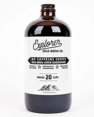 Explorer Cold Brew | Swiss Water Decaf | 1:4 Super Concentrate | Makes 20-30 Coffees | 32oz