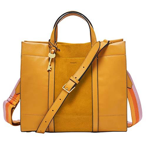 Fossil Women's Carmen Leather Shopper Tote Handbag, Mustard Gold