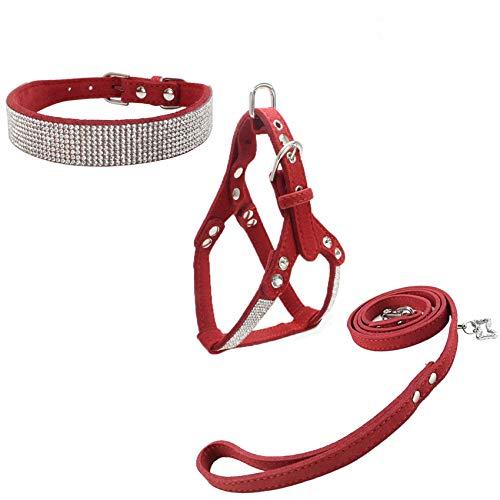 Newtensina Collare e guinzagli e Imbracatura per Cani di Moda Diamante con Imbracatura e guinzagli Collare e guinzagli Morbidi Confortevoli Collare e guinzagli per Cane