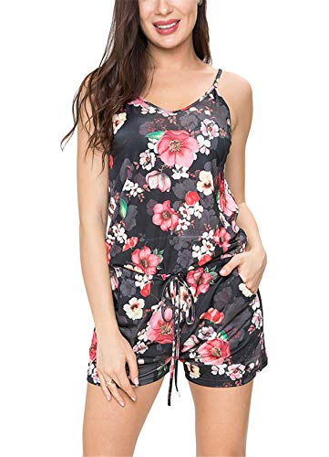 Dreamskull Mono para mujer de verano, corto, sin mangas, elegante y sexy con tirantes de flores, espalda descubierta, cuello en V, suelto, para la playa gris oscuro M