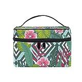 COOSUN - Bolsa de viaje con diseño de flores de hibisco trópico con hojas de palma, bolsa de aseo de lona con asa superior de una sola capa, organizador de cosméticos multifunción para mujeres