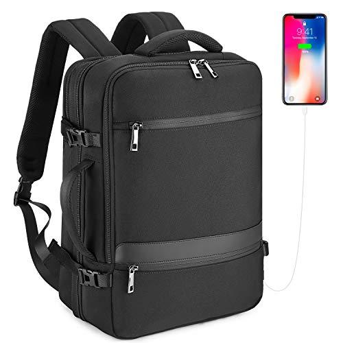32L Wasserdichter Reiserucksack Handgepäck Herren Business Laptop Rucksack für 15,6 Zoll Notebook Backpack Damen Bordgepäck mit USB-Anschluss - Schwarz
