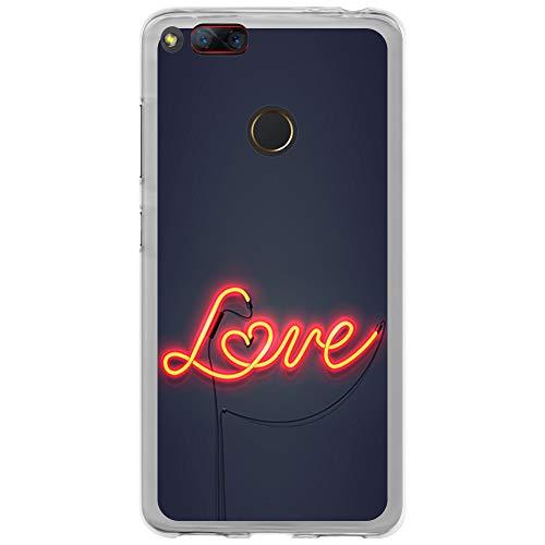BJJ SHOP Transparent Hülle für [ ZTE Nubia Z17 Mini ], Klar Flexible Silikonhülle, Design: Neonlicht, Love