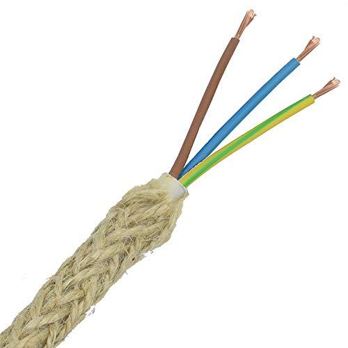 3m natürliche Jute Kabel EF 3x0,75mm² H03VV-F 3G Vintage Stromkabel Textilkabel Lampenkabel umflochten