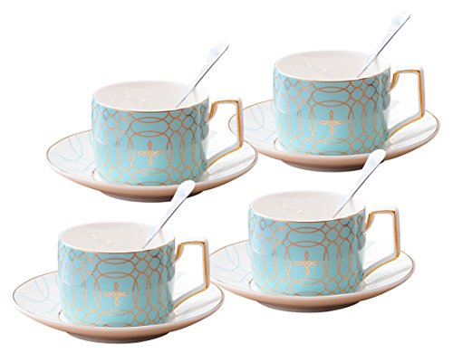 Jusalpha Porcelain Tea Set-Service of 4- Modern Elegant Mint Green Tea Cup and Saucer Set-Coffee Cup Set with Saucer and Spoon,TCS15 (4) (Blue)