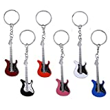 Adasea 6 Pcs Guitar Keychain Mini Cute Bass Key Chain Ring Door Car Keyring Electric Guitar Key Holder Birthday Party Favor Supplies Gifts for kids,Color Random