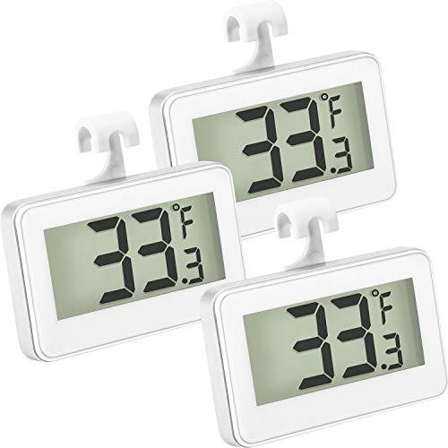 Kühlschrank Thermometer Digital Gefrierschrank Thermometer Zimmer Kühlschrank Thermometer LCD Anzeige Wasserdicht Gefrierschrank Thermometer mit Haken zum Ablesen der Temperatur ( 3 Stücke)