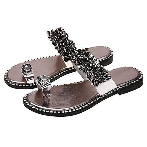 JYH Sandalias de Mujer Zapatillas de cuña con Plataforma Chanclas ortopédicas, Zapatos de Verano Toe Ring Las Mejores Sandalias ortopédicas para Mujer,Plata,40