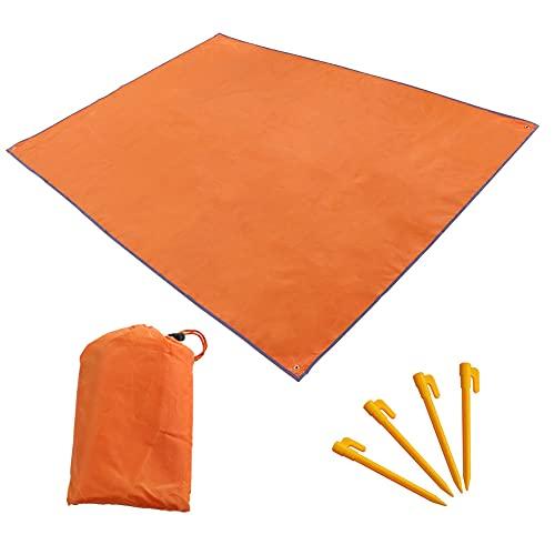 DAYIKIYI テントシート グランドシート 防水 レジャーシート? グラウンドマット 軽量 収納袋付き 折りたたみ式 キャンプ 登山 アウトドア ?ピクニック (オレンジ, 210*150cm)