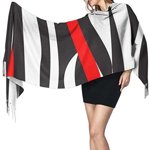 Womens Large Soft Cashmere-like Pashmina Shawls Wraps Scarf Modern Art Red Black White Curved Lines Combine Like Closeup Zebra Skin Pattern Beautiful Winter Warm Tassel Shawl Scarves