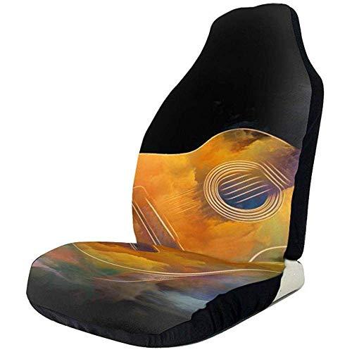 Gitaar en abstracte kleurrijke verf grappige grafische voorzijde stoelhoezen beschermer