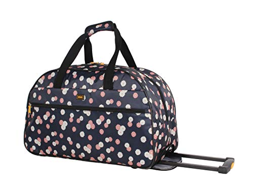 Lucas Designer Carry On Luggage Collection - Lightweight Pattern 22 Inch Duffel Bag- Weekender Overnight Business Travel Suitcase with 2- Rolling Spinner Wheels (Ditty Flora)