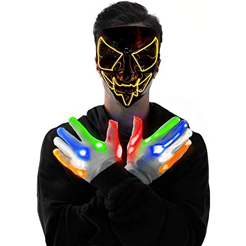 LED Mask and LED Gloves Kit Costume Festival Parties Scary Mask and Gloves Light Up Creepy Masks (Yellow)
