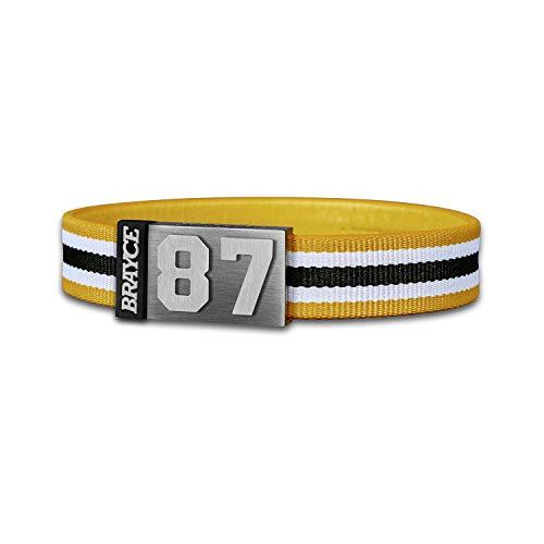 BRAYCE® Trikot am Handgelenk® mit Deiner Trikot Nummer 00-99 I Armband gelb, weiß & schwarz I Sportarmband/Teamarmband personalisierbar & handgemacht