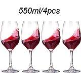 MTHDD Rouge Verre à vin 550ml Style Cristal Goblet Verre à vin Verres à vin en Verre Ocean (Size : Set of 4),550ML/4PCS
