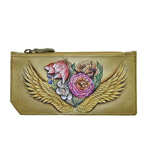 Anuschka Handbemaltes Lederetui für Damen, RFID-blockierendes Kartenetui mit Münzfach – Angel Wings