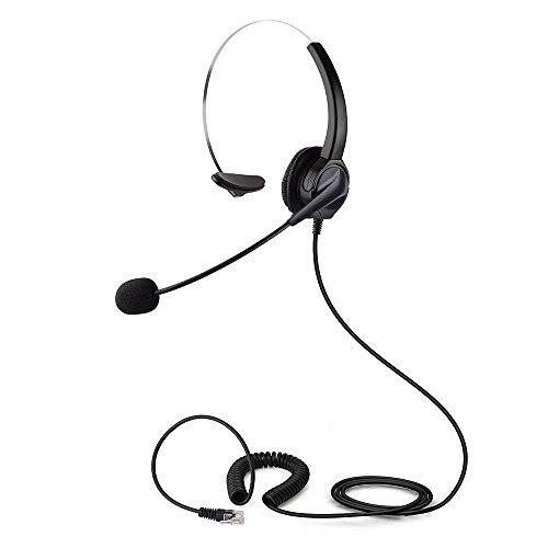 PChero Auriculares Teléfono Fijo RJ9 Mono con Micrófono, Cancelación de Ruido para Ventas Telefónicas, Seguros, Empresas