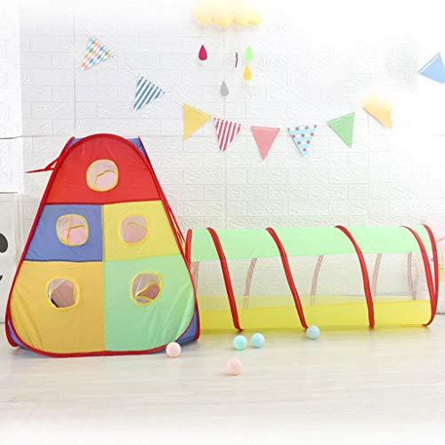 LAMPSJN Tiendas Infantiles Niños Play Tent, 2 en 1 Tienda Plegable de Bola Pop Pozo con túnel, Cumpleaños for niños en Interiores y al Aire Libre, Hermoso Estilo Tiendas de Tunel