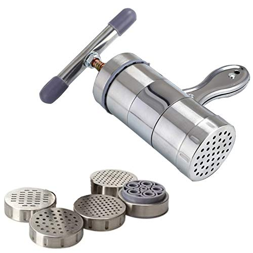 Little Pasta Extruder, Kitchen Stainless Steel Pasta Noodle Maker Press Spaghetti Machine Fruit Juicer, It Works Best on Th Large Spagetti Holes (5 Moulds)