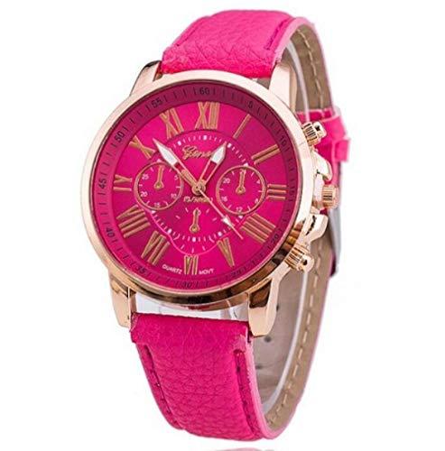 Marca Cuero Reloj de Cuarzo Mujeres Hombres señoras Moda Pulsera Relojes de Pulsera Reloj relogio Feminino@Rosa