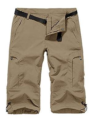 linlon Womens Quick Dry Hiking Shorts, Outdoor Casual Straight Leg Capri Long Shorts for Hiking Camping Travel,Khaki,36