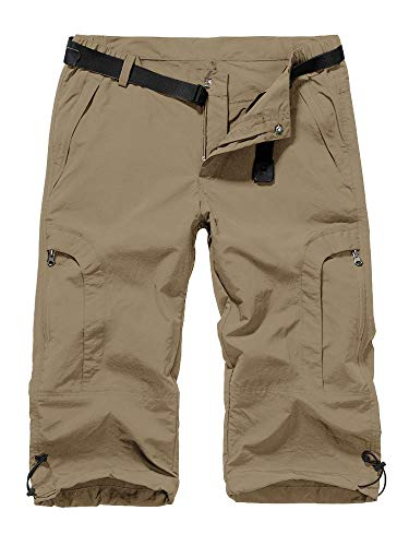 linlon Womens Quick Dry Hiking Shorts, Outdoor Casual Straight Leg Capri Long Shorts for Hiking Camping Travel,Khaki,34