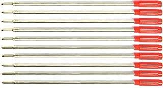 10 Pack - Cross Style Ballpoint Pen Refills - Medium Point - Smooth Flow (BULK PACKED) (Red)