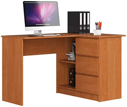 ADGO B16 - Mesa de ordenador esquinera de madera, 124 x 77 x 85 cm, con 3 cajones para un espacio para niños y adolescentes, taller y oficina (correcto, aliso)