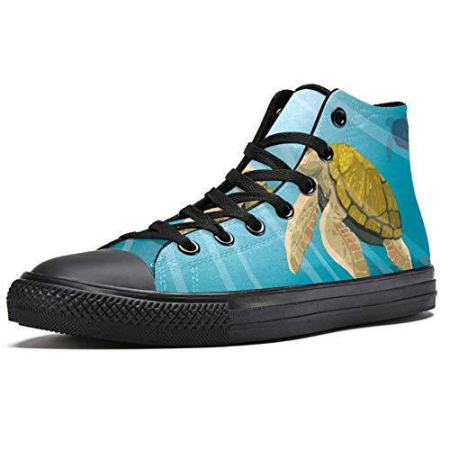 LORVIES - Zapatillas de deporte con diseño de tortuga amarilla y arrecifes de coral con peces bajo el agua del mar azul, (multicolor), 46 EU